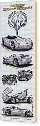 Wood Print featuring the drawing Stingray Concept Corvette by K Scott Teeters