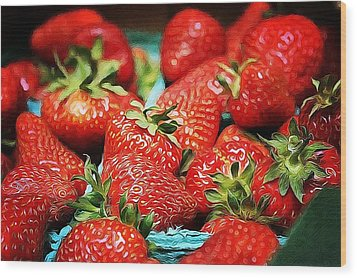 Strawberries Wood Print by Cathie Tyler