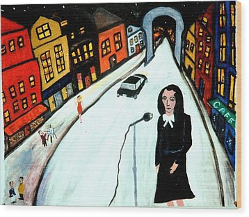 Street Singer Wood Print by Eliezer Sobel