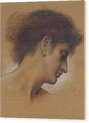 Study Of A Head Wood Print by Evelyn De Morgan