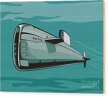 Submarine Boat Retro Wood Print by Aloysius Patrimonio