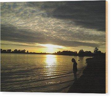 Sun Set Wood Print by Rebecca Frank