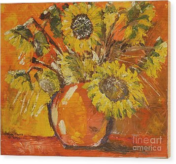Sunflowers Wood Print by Judy Morris