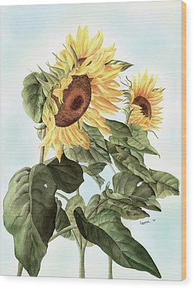Sunflowers Wood Print by Leona Jones