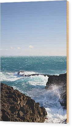 Sunny Day And Stormy Sea Wood Print by Kathleen Pio