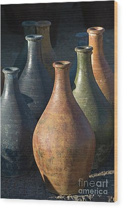 Sunrise And Pottery Wood Print by Sandra Bronstein