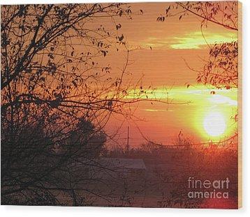 Sunrise Over Rural Homestead Wood Print by Cedric Hampton