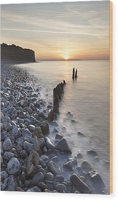 Sunset At The Remains Of Lilstock Pier Wood Print by Nick Cable