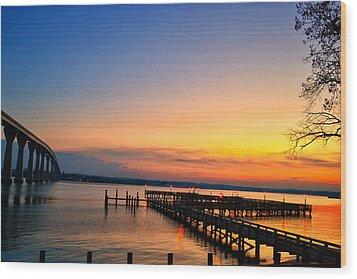 Sunset Bridge Wood Print by Kelly Reber