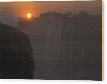 Sunset Over Cascading Victoria Falls Wood Print by Ralph Lee Hopkins