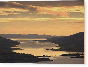Sunset Over Water, Argyll And Bute Wood Print by John Short