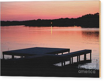 Wood Print featuring the photograph Sunset View From Dockside by Kathy  White