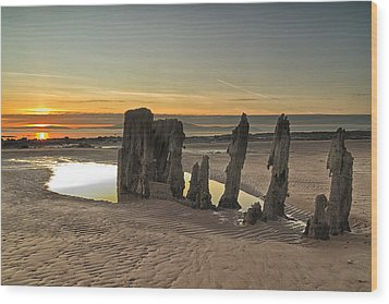 Sunset Wreck Wood Print by Fiona Messenger