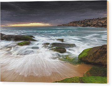 Swirls On The Rock Wood Print by Mark Lucey