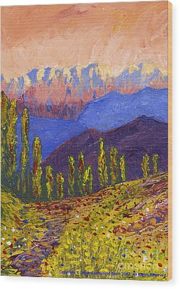 Swiss Alps Impasto Wood Print by Edward McNaught-Davis