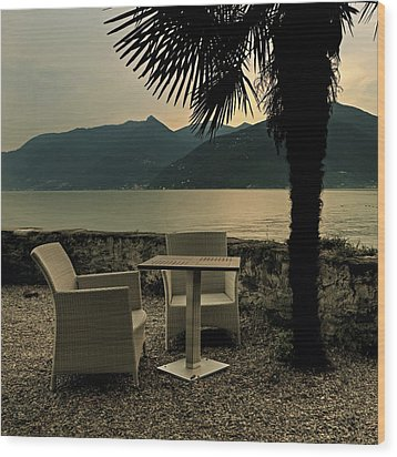 Table And Chairs Wood Print by Joana Kruse