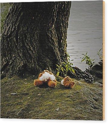 Teddy Without Head Wood Print by Joana Kruse