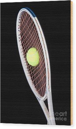 Tennis Ball And Racket Wood Print by Ted Kinsman