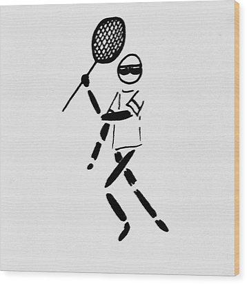 Tennis Guy Wood Print by Robin Lewis