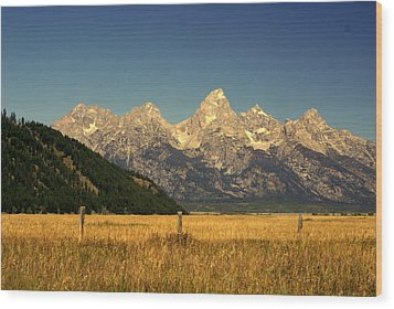 Wood Print featuring the photograph Tetons 3 by Marty Koch