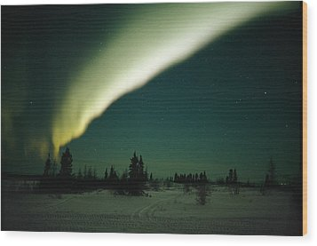 The Aurora Borealis Glows Brightly Wood Print by Norbert Rosing