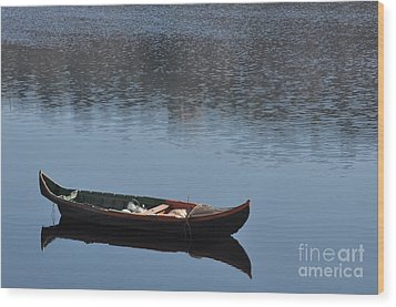 The Boat Wood Print by Armando Carlos Ferreira Palhau
