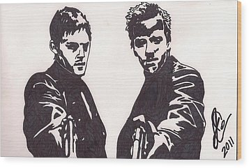 Wood Print featuring the drawing The Boondock Saints by Jeremiah Colley