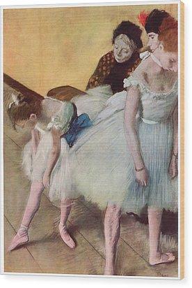 The Dancing Class Wood Print by Edgar Degas