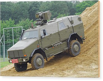 The Dingo 2 Mppv Of The Belgian Army Wood Print by Luc De Jaeger