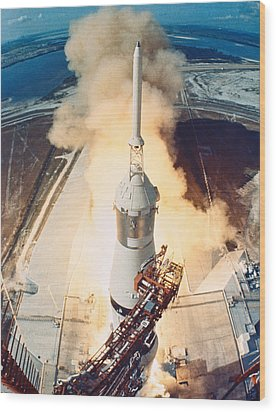 The Launch Of A Space Rocket Wood Print by Stockbyte