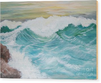 The Mighty Pacific Wood Print by Janna Columbus