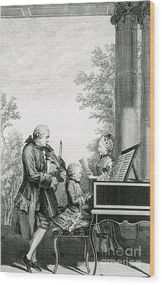 The Mozart Family On Tour, 1763 Wood Print by Photo Researchers