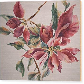 The Poinsettia Wood Print by Sharon K Wilson