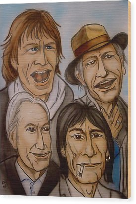 The Rolling Stones Wood Print by Pete Maier
