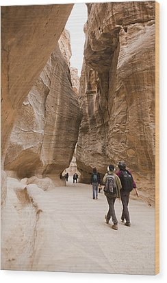 The Slot Canyons Leading Into Petra Wood Print by Taylor S. Kennedy