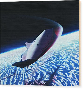The Space Shuttle Re-entering The Earth's Atmosphere Wood Print by Stockbyte