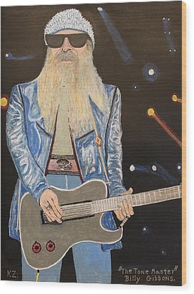 The Tone Master.billy Gibbons. Wood Print by Ken Zabel
