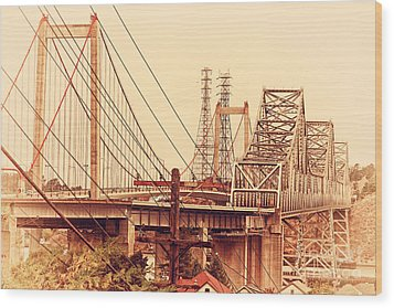 The Two Carquinez Bridges At Crockett And Vallejo California . Aka Alfred Zampa Memorial Bridge . 7d8919 Wood Print by Wingsdomain Art and Photography