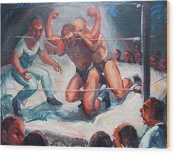 The Wrestling Match In Color Wood Print by Bill Joseph  Markowski