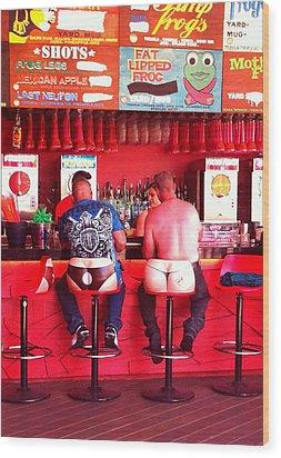 Thongs In Red Wood Print