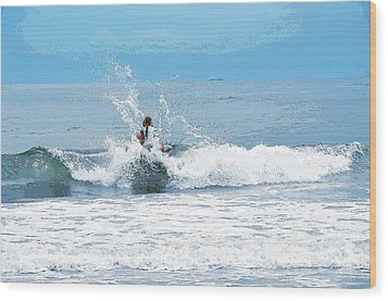 Wood Print featuring the photograph Through The Wave Blues by Maureen E Ritter