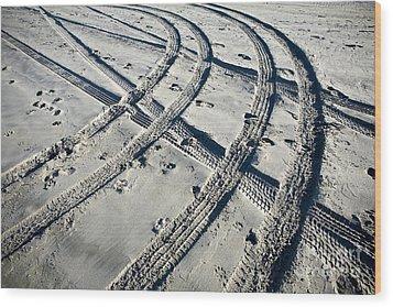Tire Tracks And Footprints, Long Beach Peninsula, Washington Wood Print by Paul Edmondson
