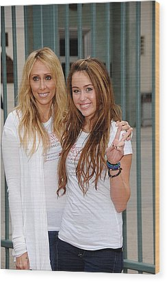 Tish Cyrus, Miley Cyrus In Attendance Wood Print by Everett