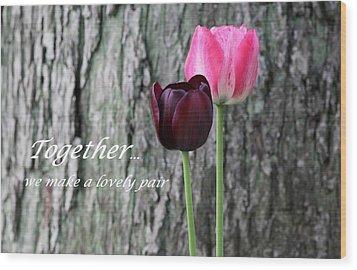 Together Wood Print by Deborah  Crew-Johnson