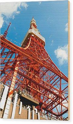 Tokyo Tower Face Cloudy Sky Wood Print by Ulrich Schade
