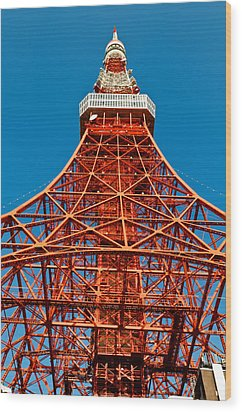 Tokyo Tower Faces Blue Sky Wood Print by U Schade