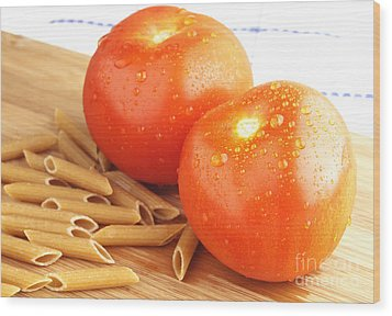 Tomatoes And Pasta Wood Print by Blink Images
