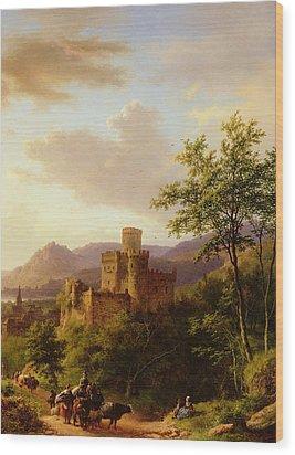 Travellers On A Path In An Extensive Rhineland Landscape Wood Print by Barend Cornelis Koekkoek