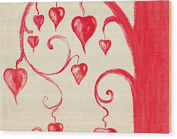 Tree Of Heart Painting On Paper Wood Print by Setsiri Silapasuwanchai