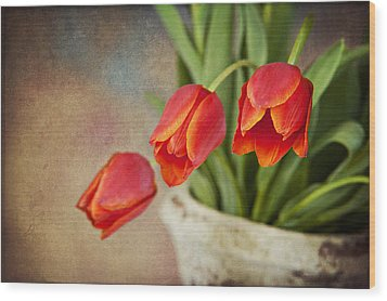 Wood Print featuring the digital art Tulip Cascade by Cheryl Davis